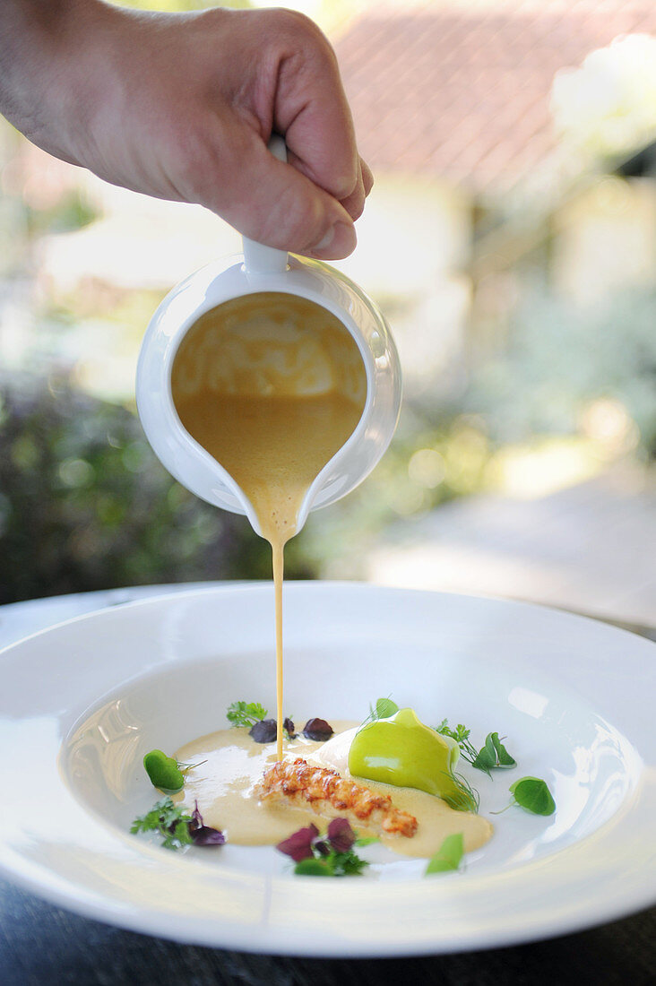 Sauce (soup) being poured onto a plate
