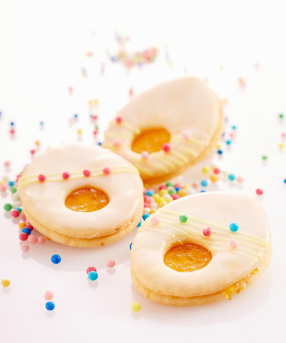 Orange-flavoured, Easter egg-shaped biscuits