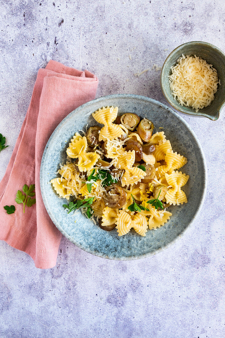 Pasta with roasted eggplant