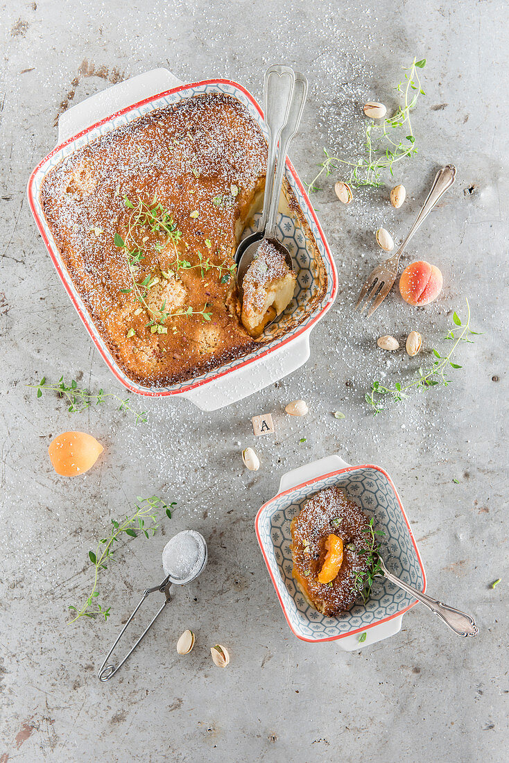 Apricot clafoutis with pistachio nuts and thyme