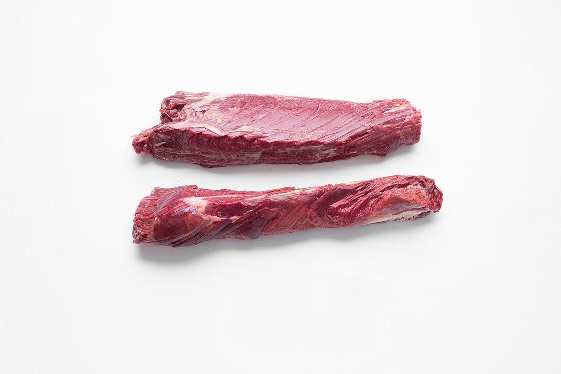 Hangar steak, sliced lengthways