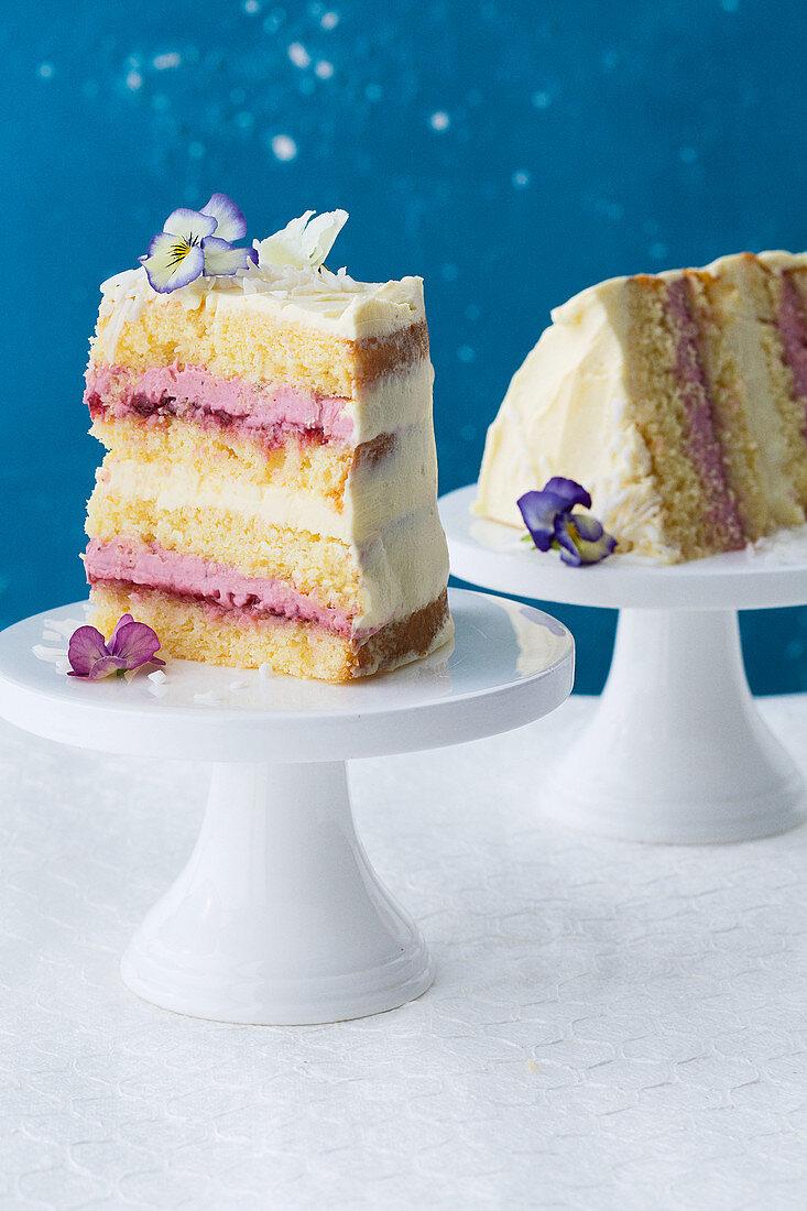 Naked lamington cake with raspberry jam panna cotta