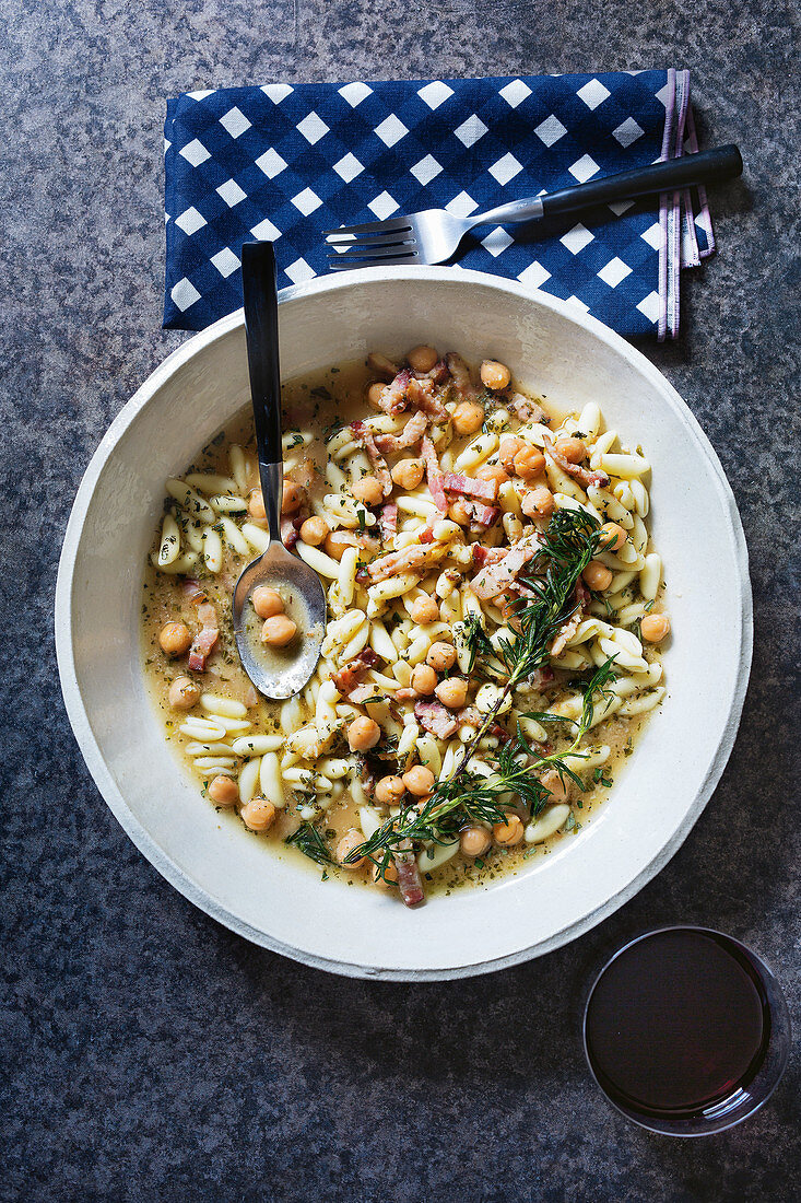 Bacon, chickpea and rosemary cavatelli in broth