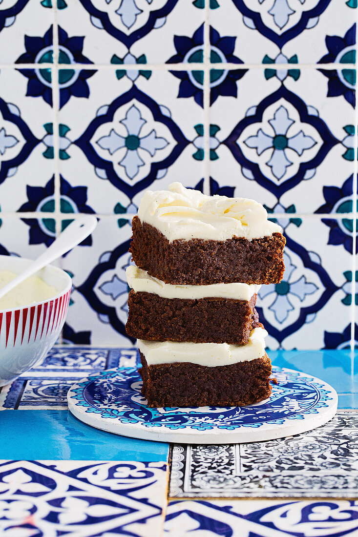 Flourless walnut brownies with whipped ricotta