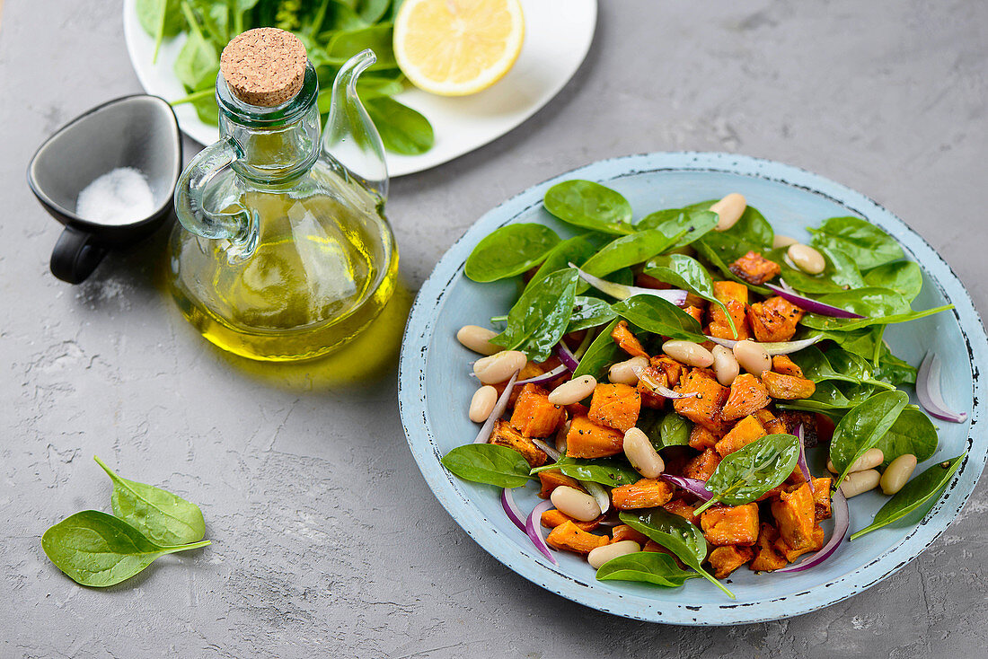 Sweet potato salad with white beans and spinach