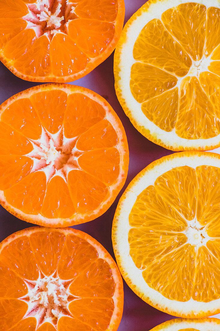 Slices of tangerine and orange (edge to edge)