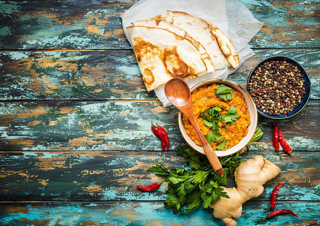 Lentil dal with flatbread (India)