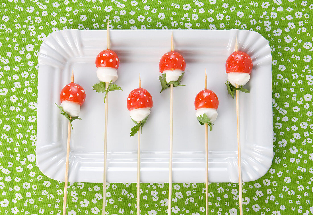 'Toadstools' made from mozzarella and tomatoes