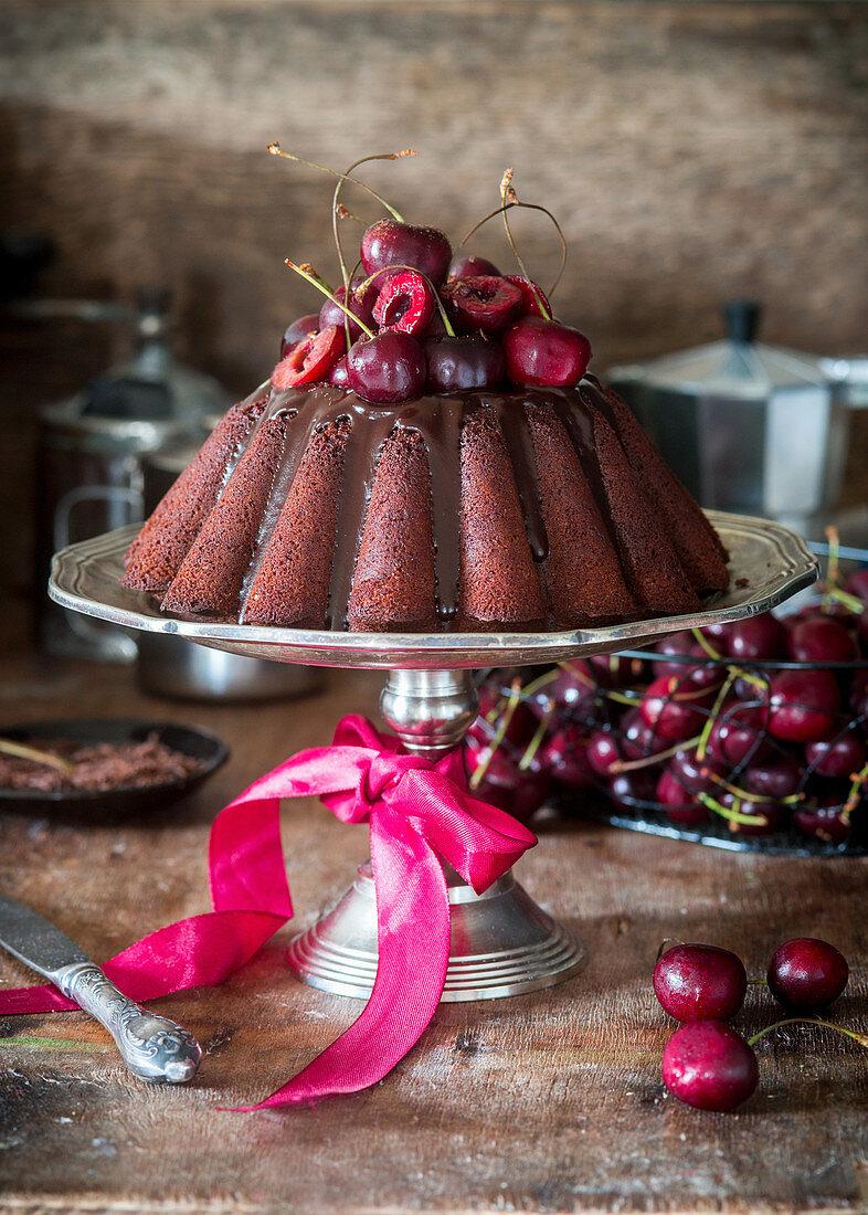 Chocolate bundt cake with cherries