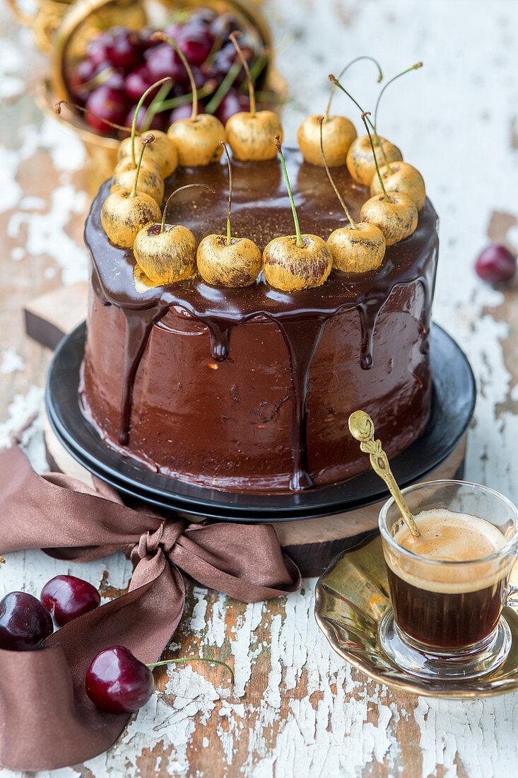 Chocolate cake with golden cherries