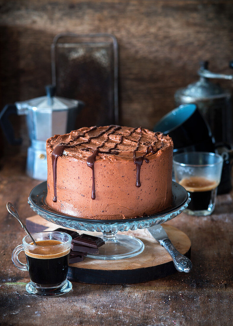 Chocolate cake with whipped chocolate ganache