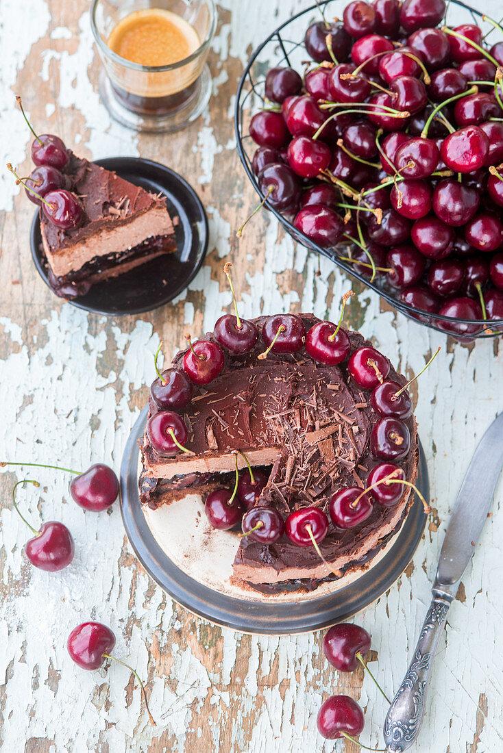 Chocolate cheesecake with cherries