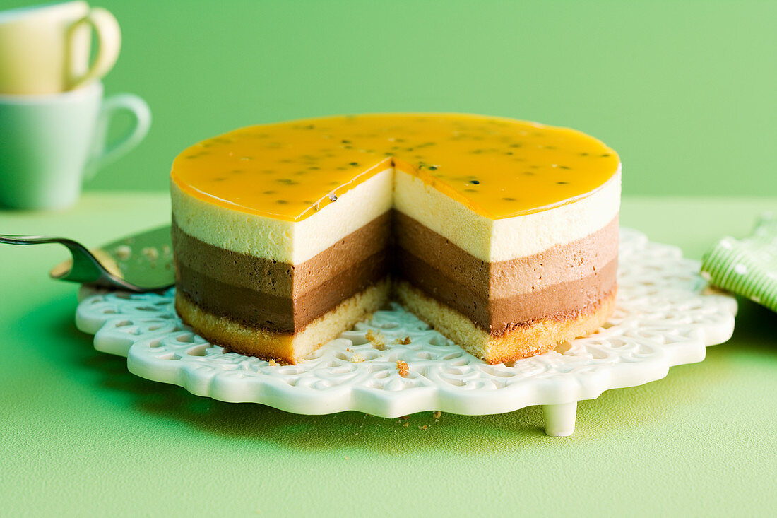 Tricolour cake with chocolate mousse and passion fruit