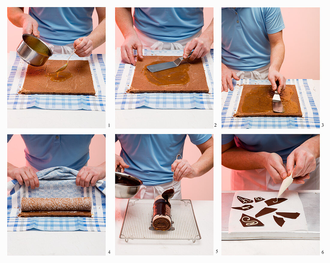 Sacher-style Swiss roll being made