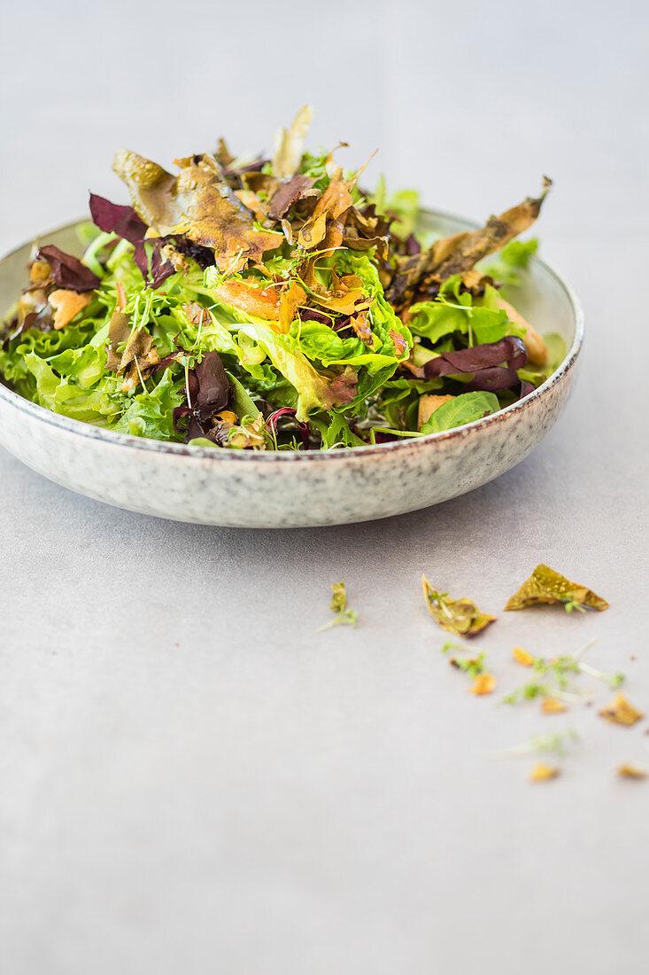 Caesar salad with crispy algae bacon