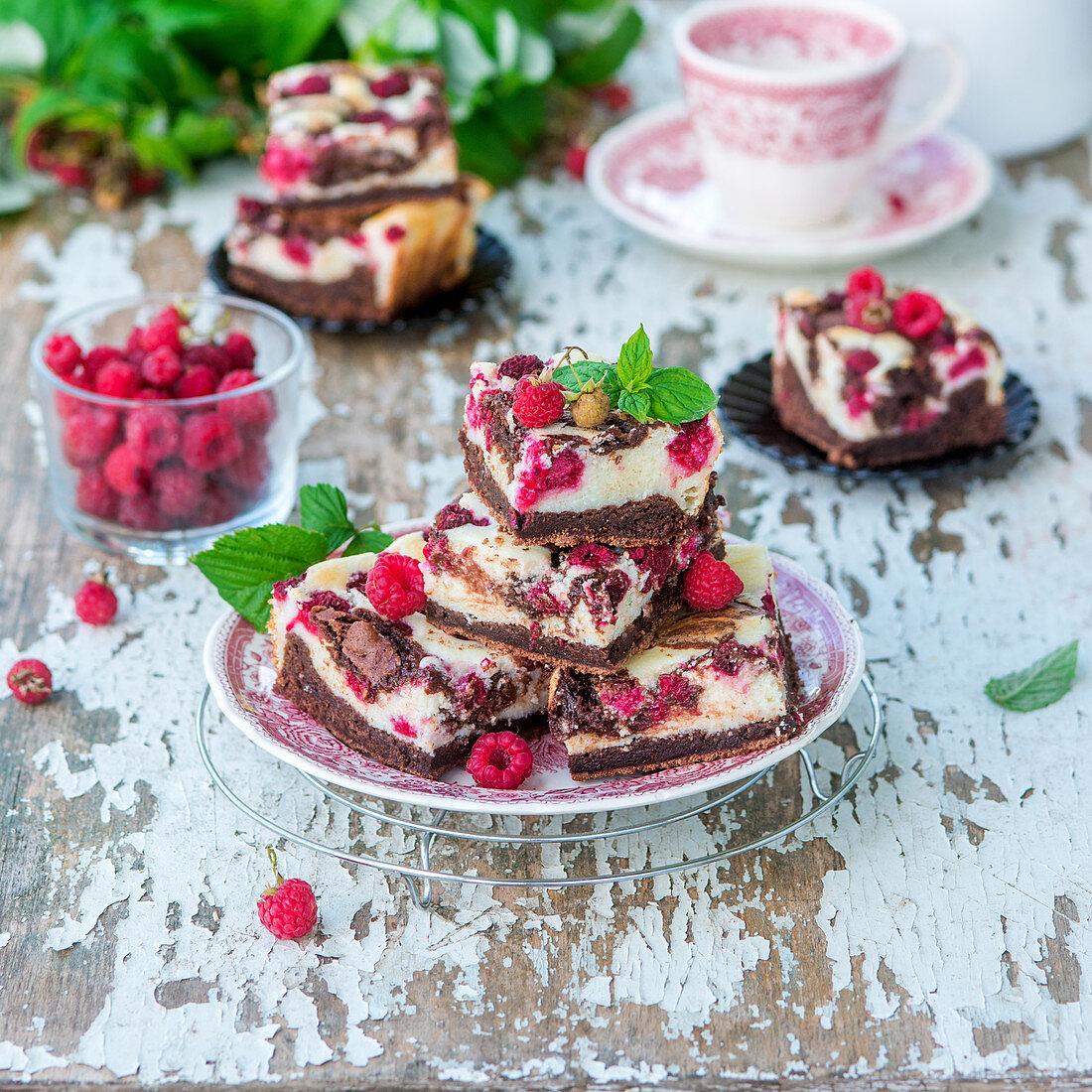 Chocolate raspberry quark brownie-cheesecake