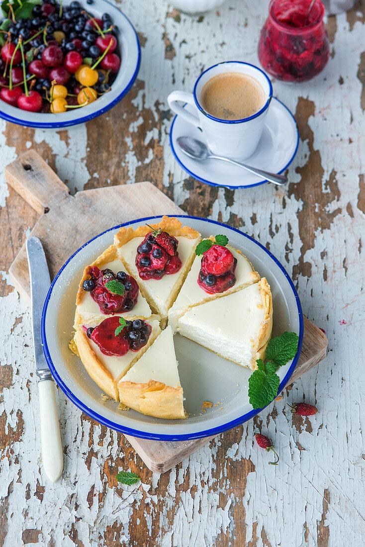 Vanilla cottage cheese cake witj berry sause