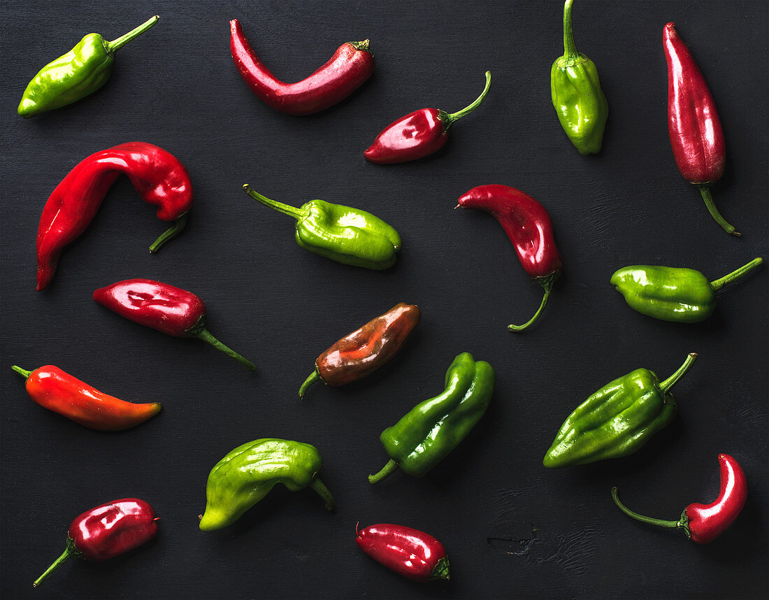 Pattern of small colorful hot chili peppers