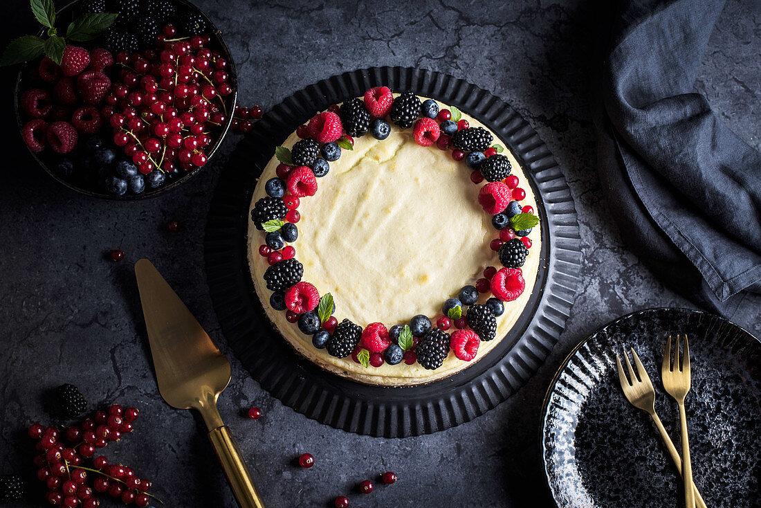 Ricotta cheesecake with summer berries