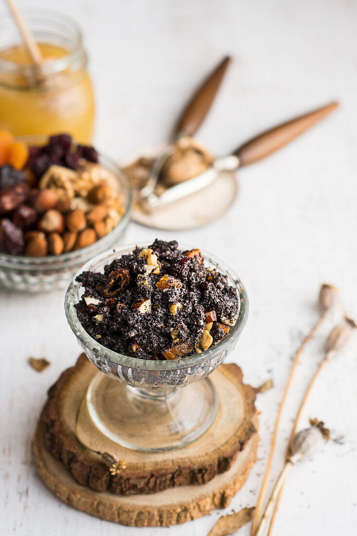 Christmas mass of poppy seeds, poppy seed with nuts and raisins, Polish cuisine