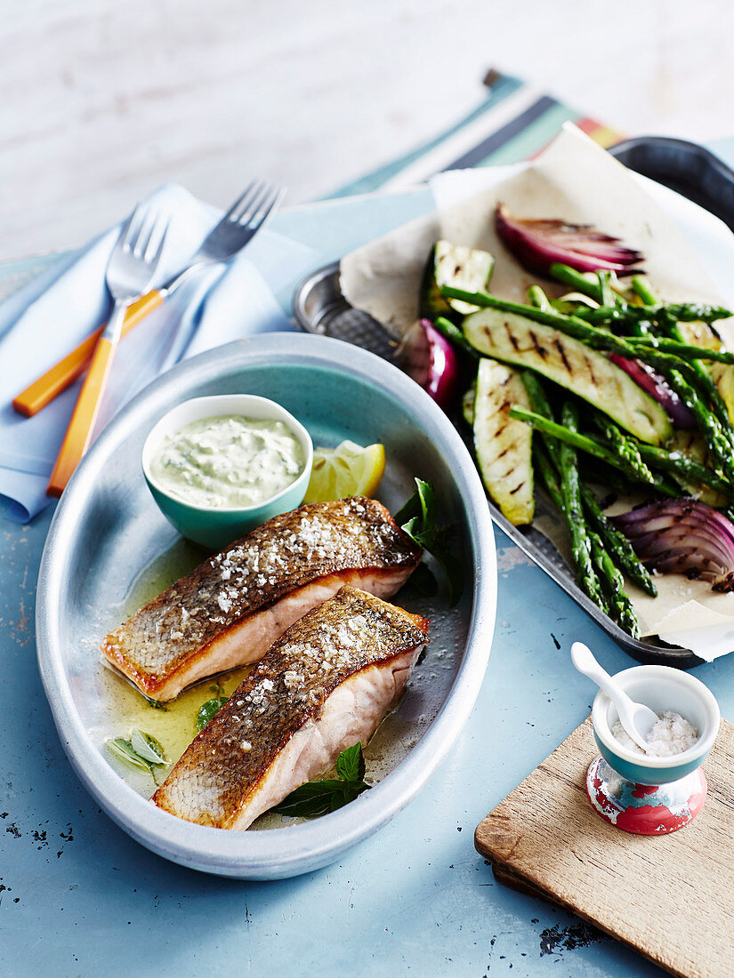 Barbecued Salmon with Chermoula Sauce
