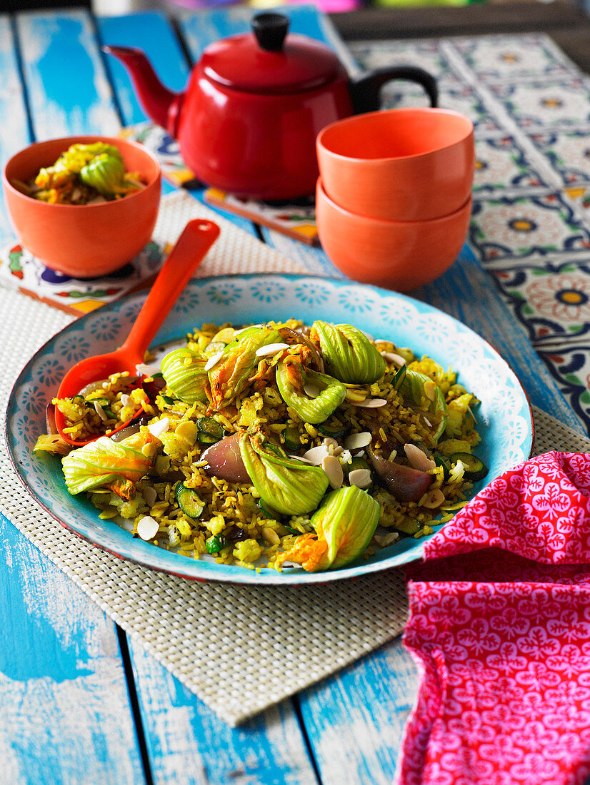 Mexican Saffron Rice with Zucchini Flowers