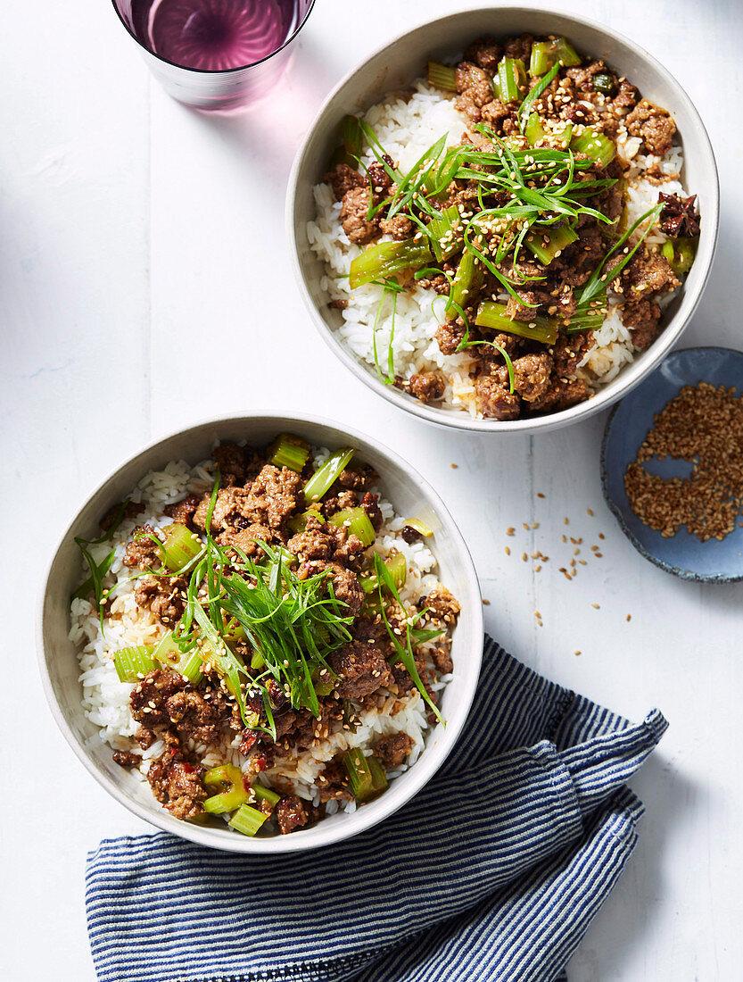 Shaanxi style lamb cumin and celery (Asia)