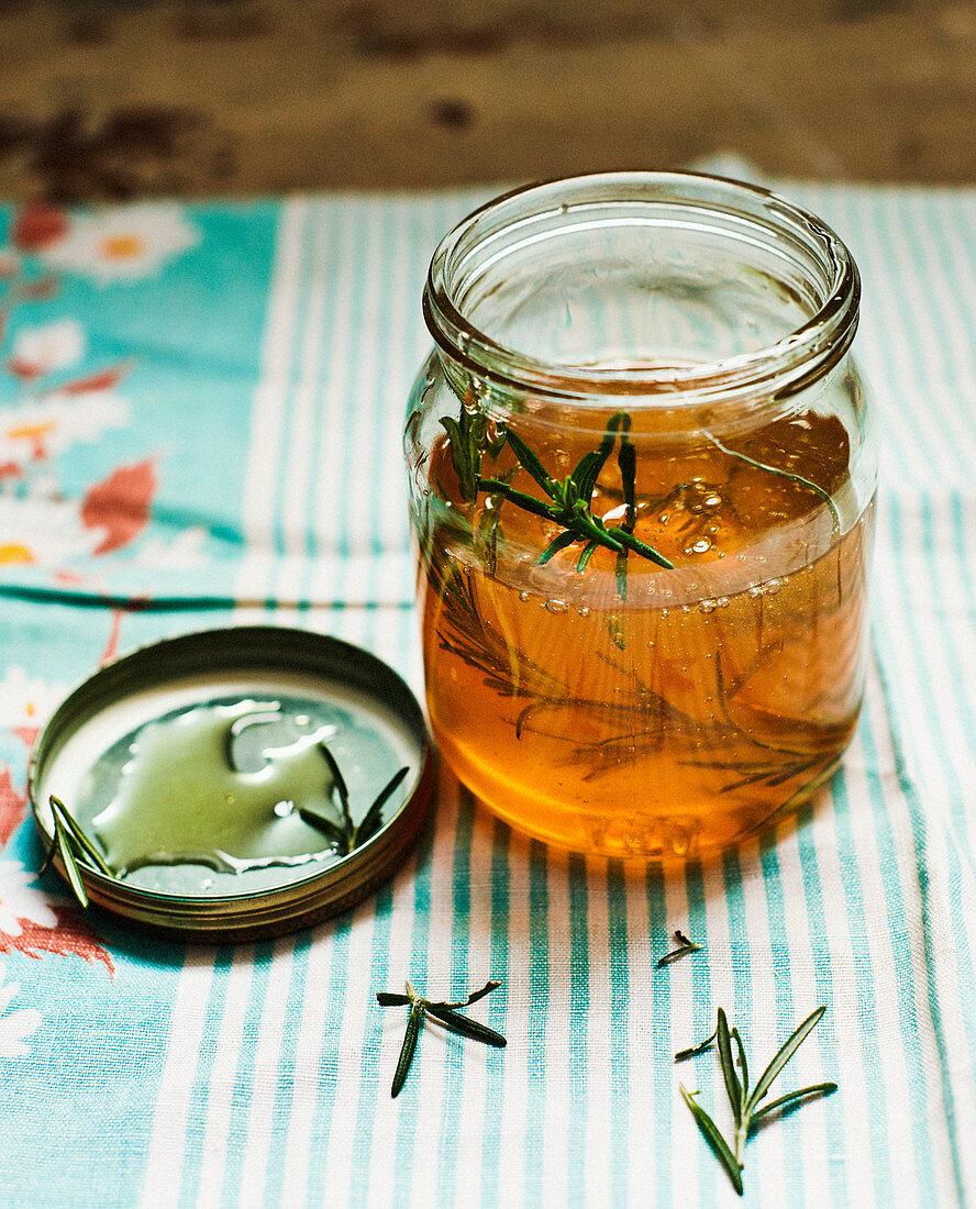 Jar of rosemary honey