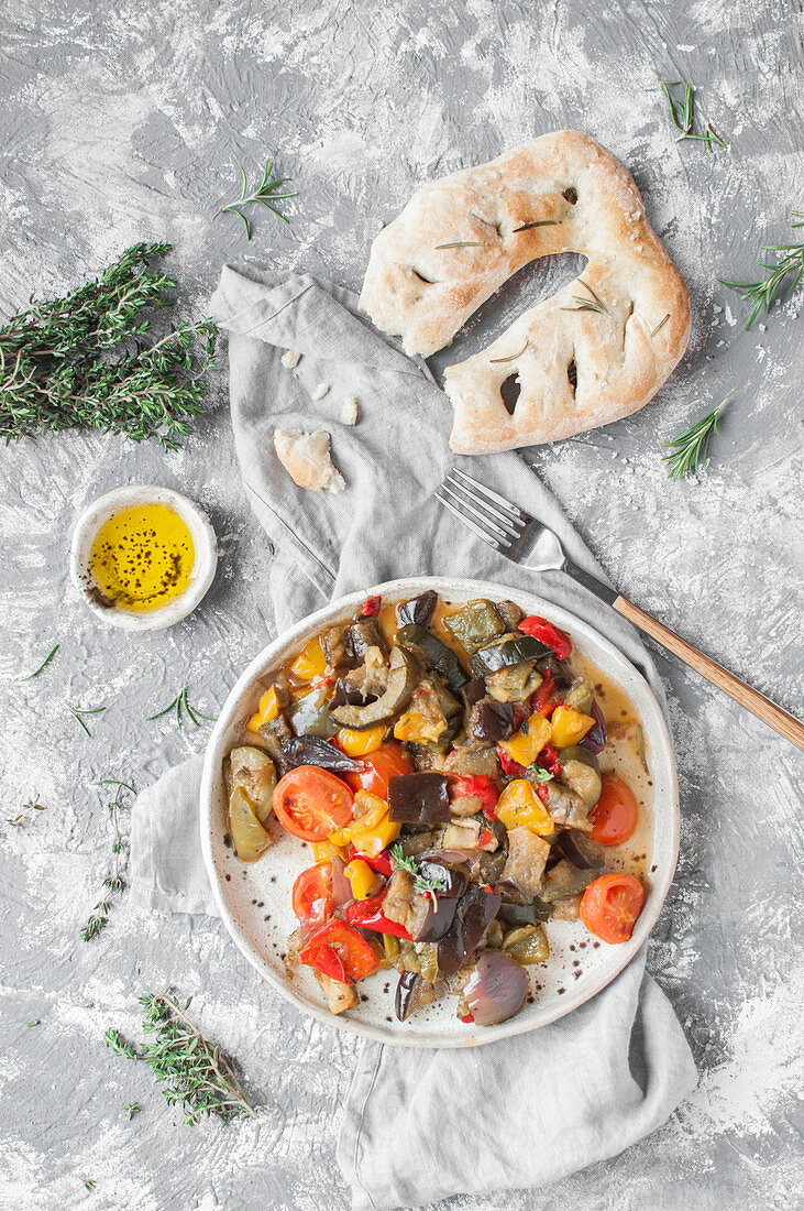 Roasted veggies (eggplant, courgette, bell pepper, onion and tomatoes) served with traditional Fougasse