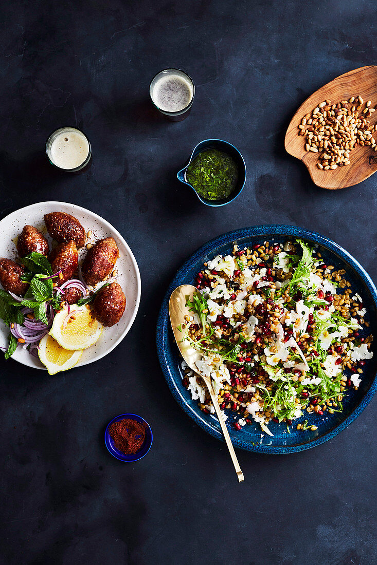 Freekeh, shaved cauliflower salad with herb dressing and kibbeh