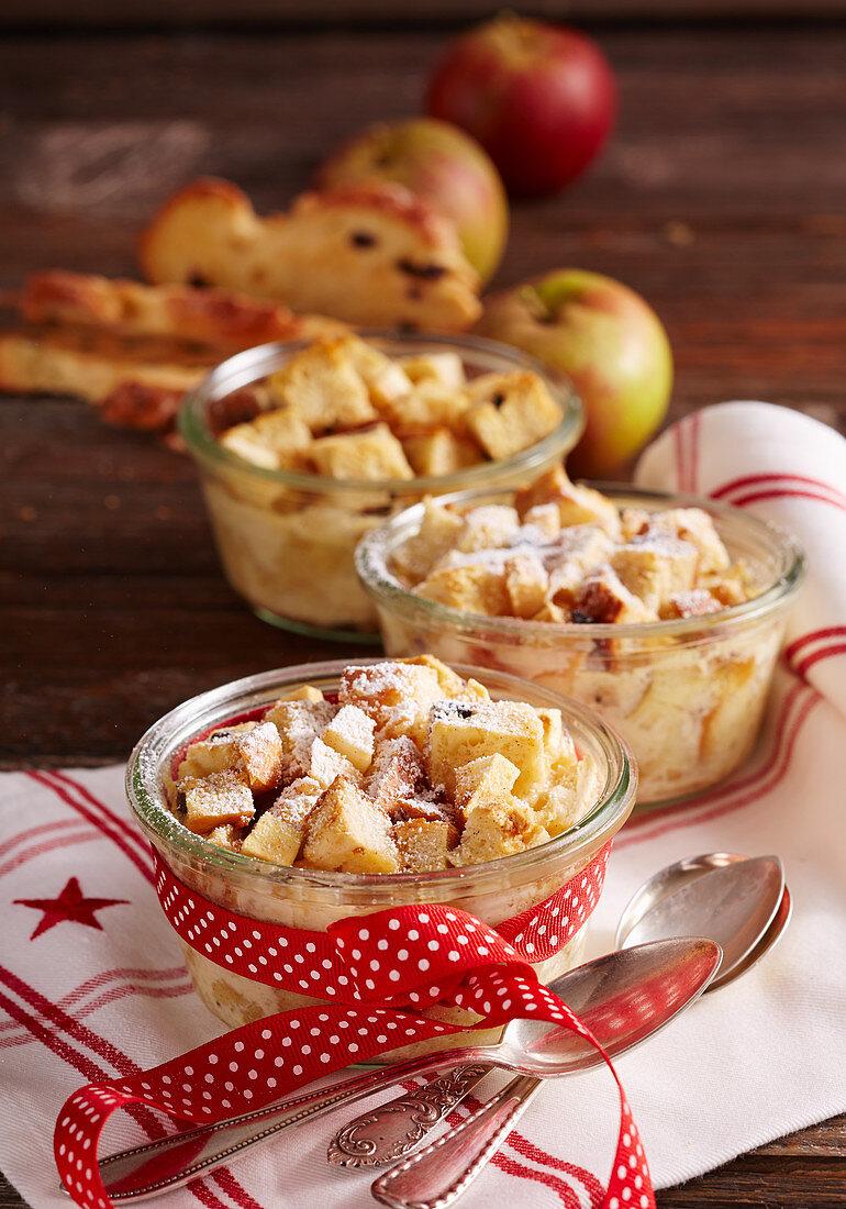 Raisin bread plait bake with apple in jars