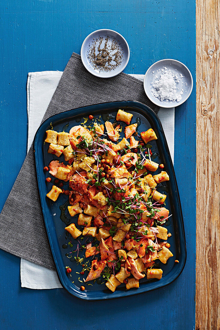 Chickpea gnocchi with harissa roasted ocean trout