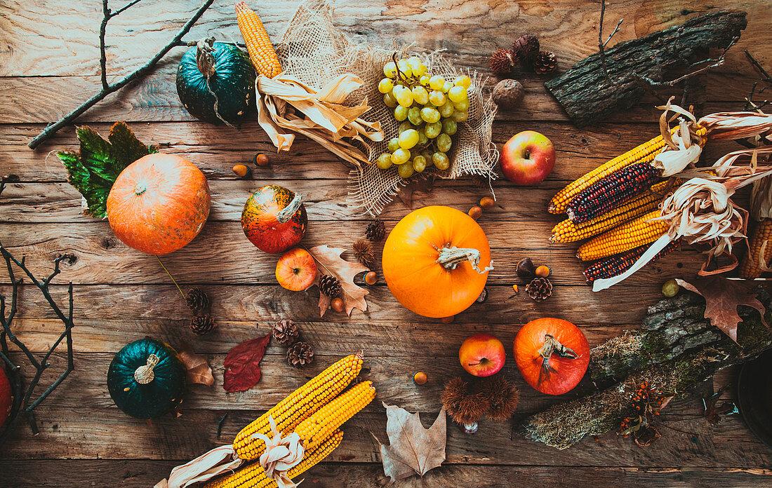 Autumn fruit over wood, Thanksgiving autumn background