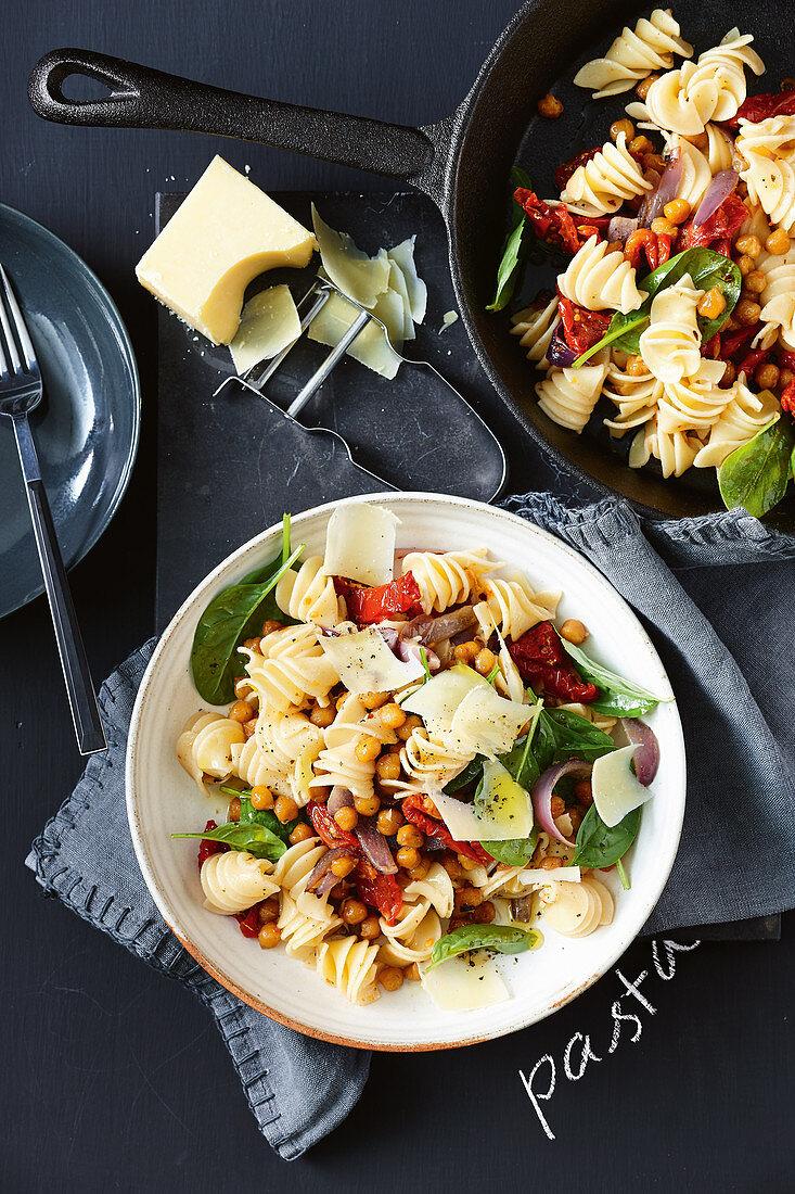 Crispy chickpea and semi dried tomato pasta