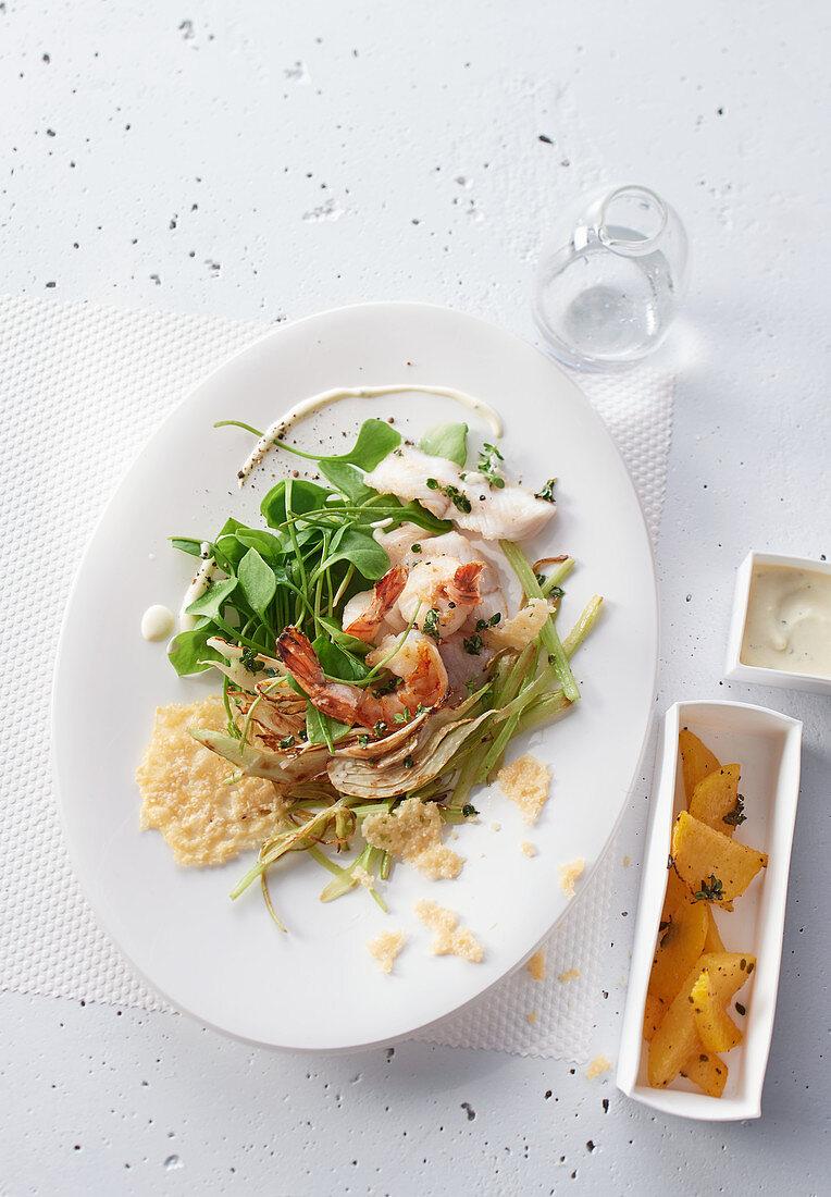 Roasted pollock and shrimp salad