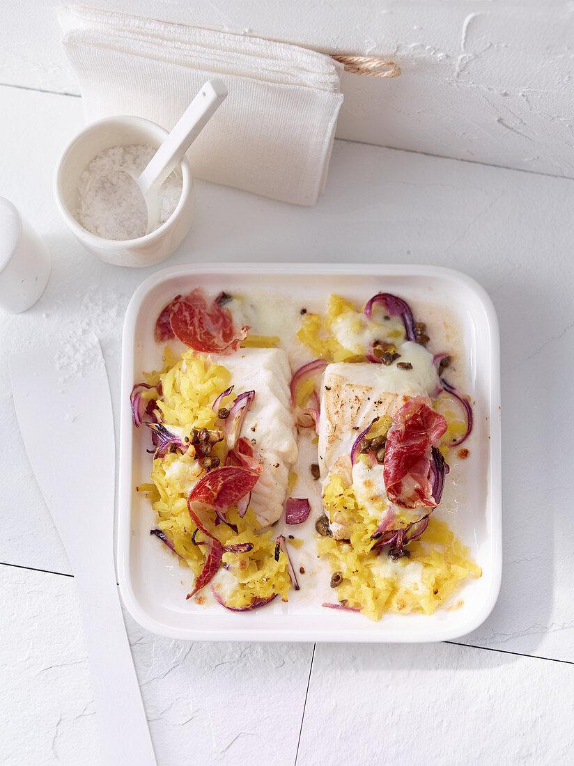 Cod with a potato and mozzarella crust