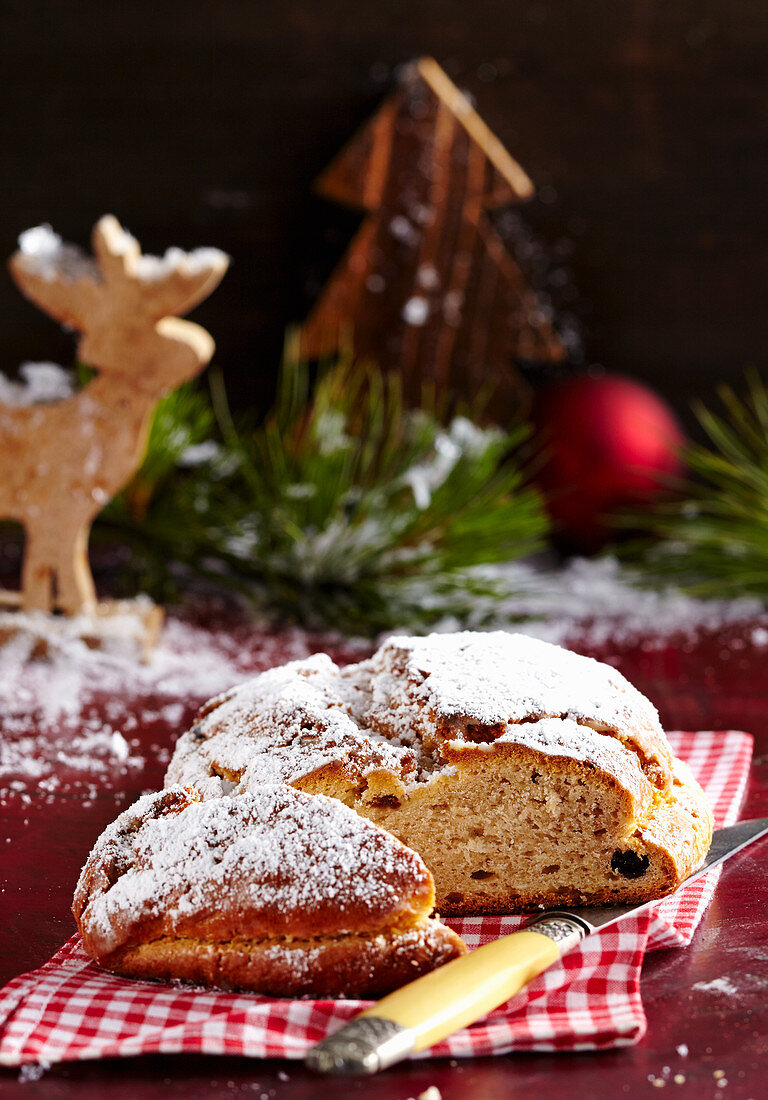 Apple stollen with icing sugar for Christmas
