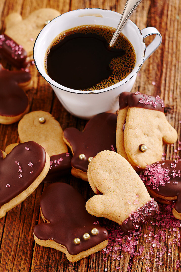 Christmas gingerbread cookies with chocolate and cherry jam