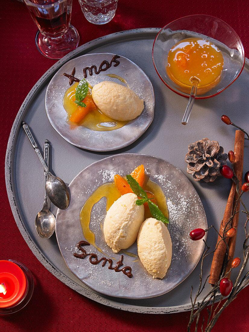 Mandarin curd cream with mint