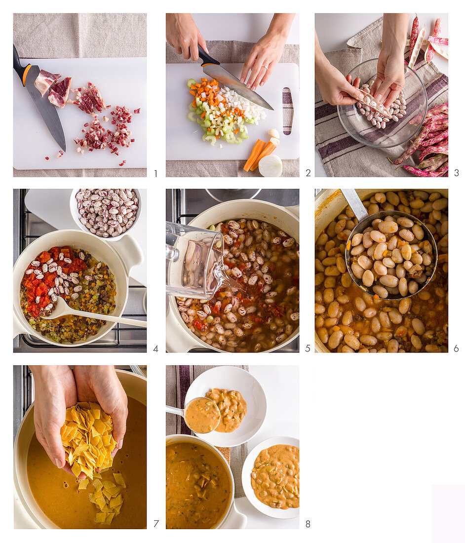 Pasta e fagioli (pasta with beans, Italy) being made