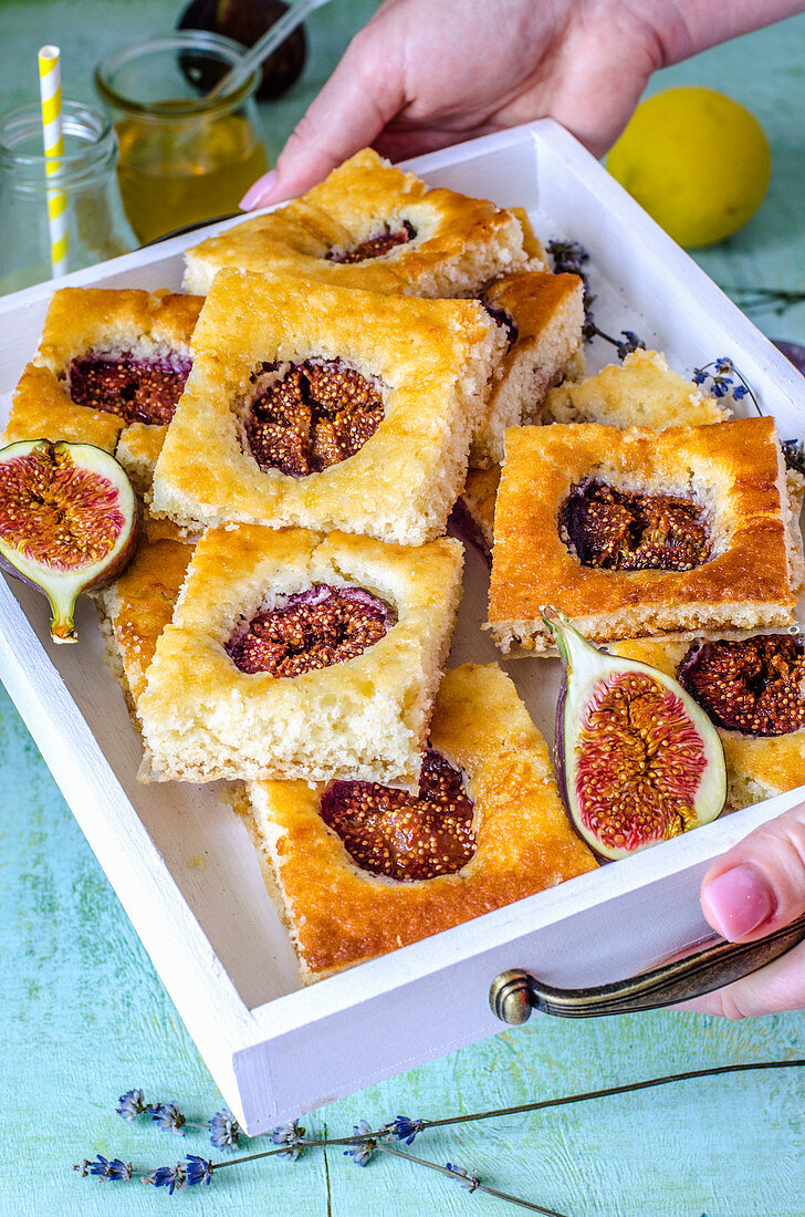 Fig and Honey Snack Cake on a white tray