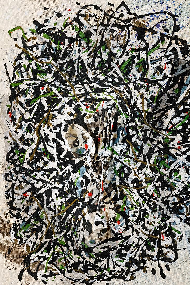Food Art: Löffel und Gabel mit Dripping-Maltechnik (Inspired by Jackson Pollock)