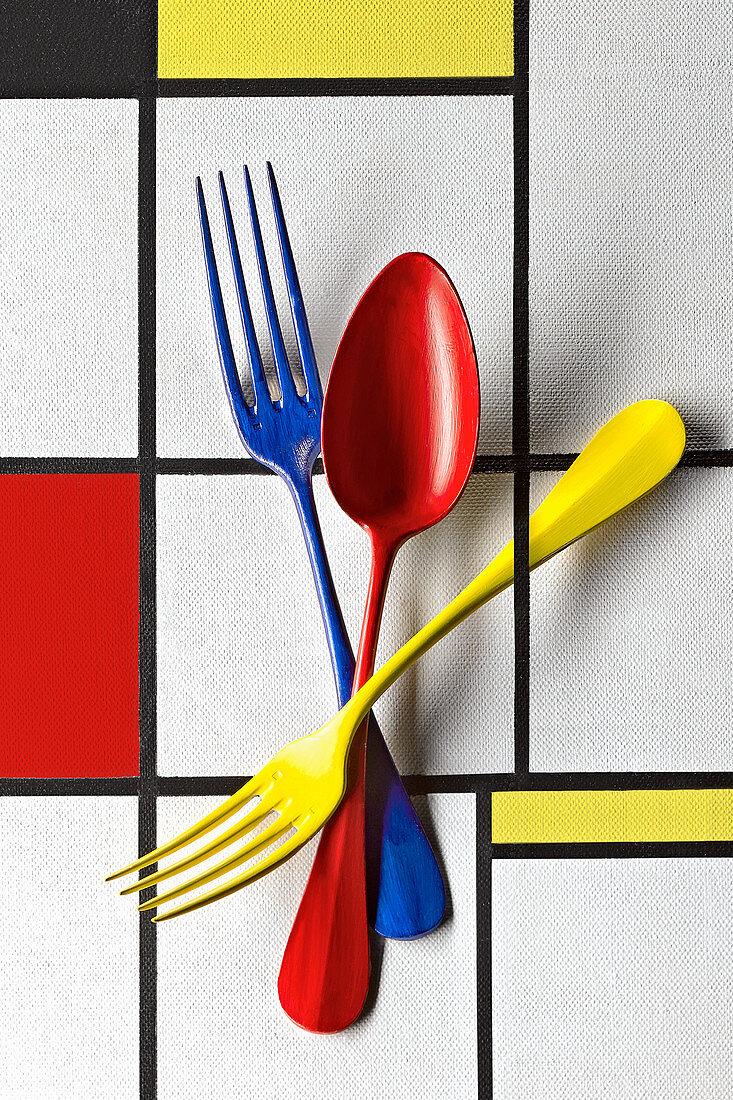 Food Art: Buntes Besteck (Inspired by Piet Mondrian)