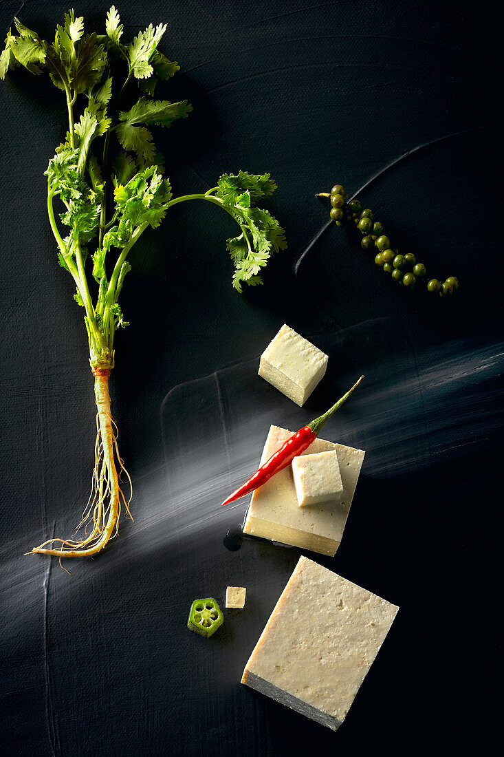 Food art: tofu with coriander, chilli and pepper on a black surface