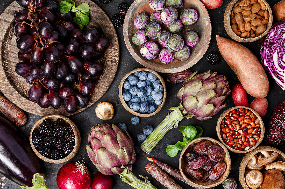Assortment raw organic of purple ingredients