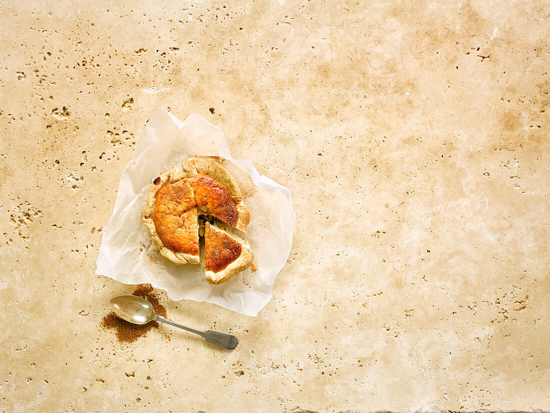 Anglesey curd tart, sliced