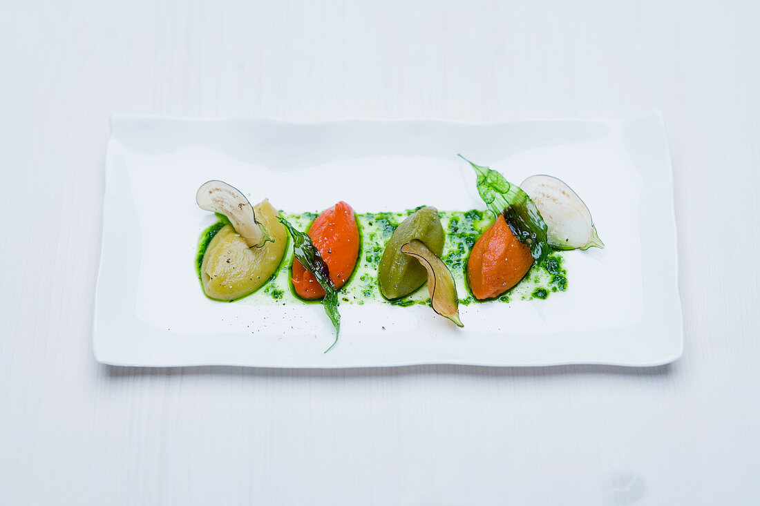 Ratatouille purée with organic herbs