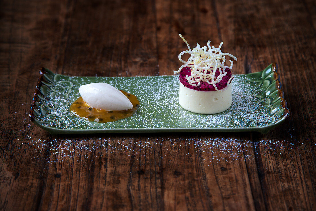 Light durian mousse with mangosteen sorbet