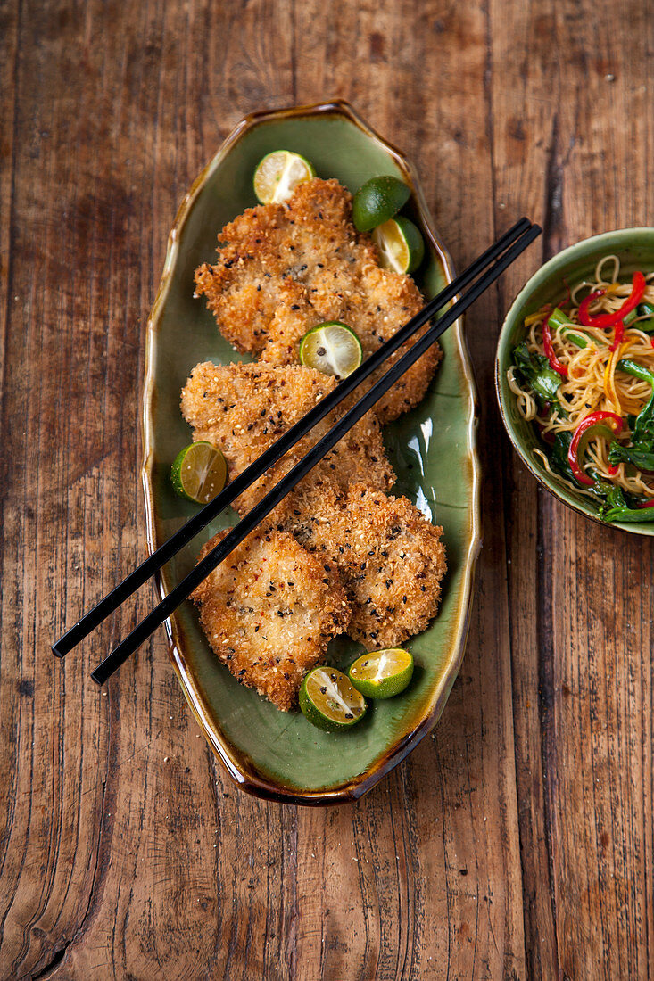 Oriental style chicken escalope with Singapore noodles