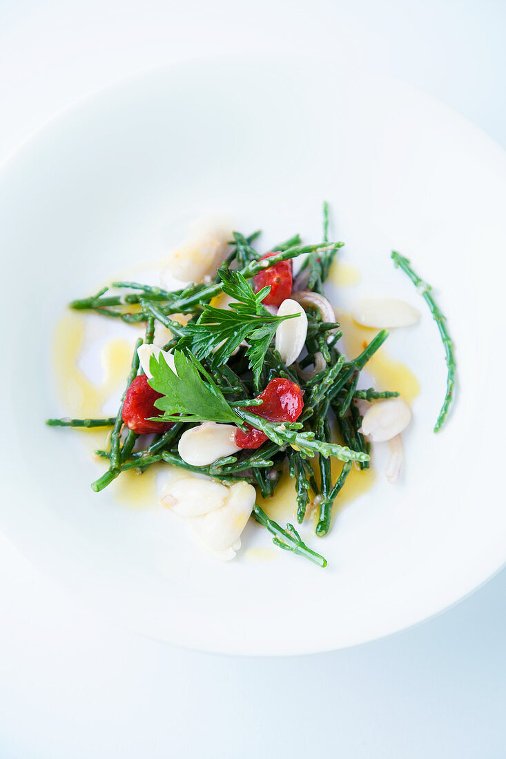 Saltwort salad with cured tomatoes